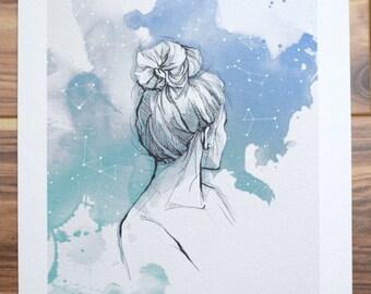 stargazing illustration print