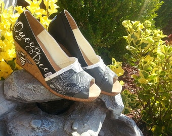AVAILABLE NOW Queen Bee TOMS - free shipping- Painted Shoes- Wedges- Crown- Rhinestones - Wedding - Bride - Bumble Bee - Gift- Size 9.5