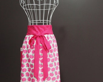 Womens Apron Pink Apples - Half Length