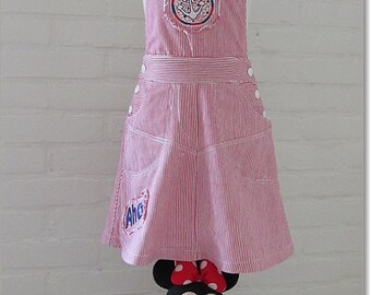 Girls dungeree style dress size 4T, girls pinafore dress,