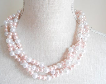 Pale pink multi strand plaited chunky beads pearl necklace, Unique for wedding, Bridesmaid Gifts, Mother of the Bride, Valentine's day
