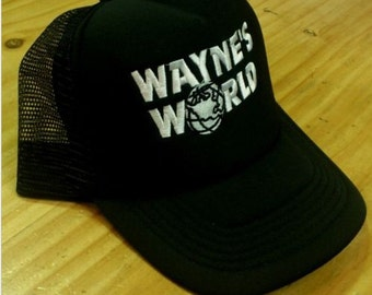 New WAYNES WORLD Embroidery Quality Black Mesh Trucker Cap Hat 90's Party