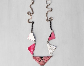 SALE! Triangle Garland Necklace - recycled salvaged metal bunting flag necklace