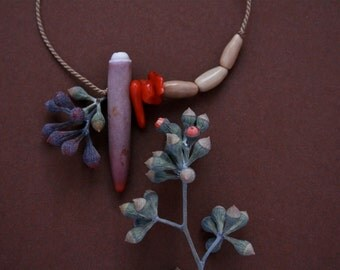 small natural necklace with sea urchin, coral and seeds - ethnic jewelry - asymmetrical - eco friendly