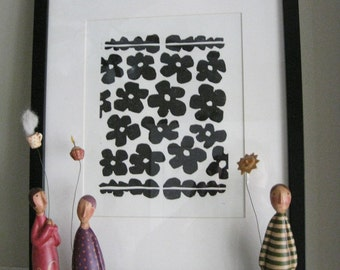 "FLOWERS and LEAVES - Lino Print- Black & White Flower Print - Modern Minimalist Print - Ready to Shiprint 8""x10"""