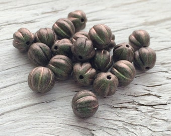 Czech glass beads - glass melon beads polychrome olive mauve 8mm  pack of 20 (M106)