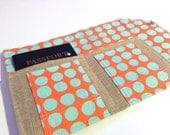 Passport Cover and Family Size Case- The Mini In Touch Clutch for Moleskine Journals and Passports- Amy Butler Love Melon Teal Dots