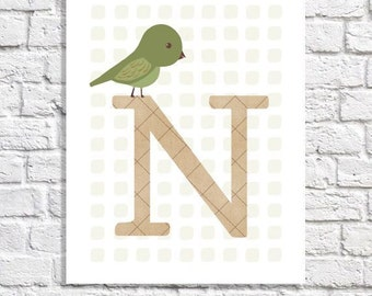 Bird Nursery Baby Initial Artwork Single Letter Monogram Wall Art Gender Neutral Alphabet Print ABC Boy Room Ideas Personalized Girl Decor