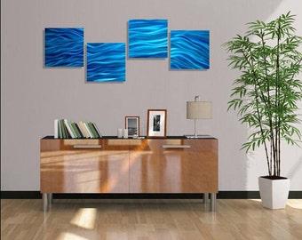 Bright Aqua Blue Ocean Inspired Modern Metal Wall Art - 4 Piece Abstract Wall Sculpture - Home Decor - Wall Accent -Great Waves by Jon Allen