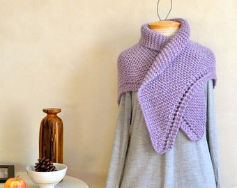 Baby Alpaca Shawl Hand Knit in Lavender Luxurious Bulky Weight