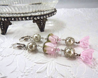 Old World Rose, Lampwork Beaded Earrings, Pink Roses