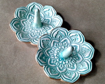 SALE TWO Lotus Ring Holder Bowls shower favors SECONDS Aqua edged in gold