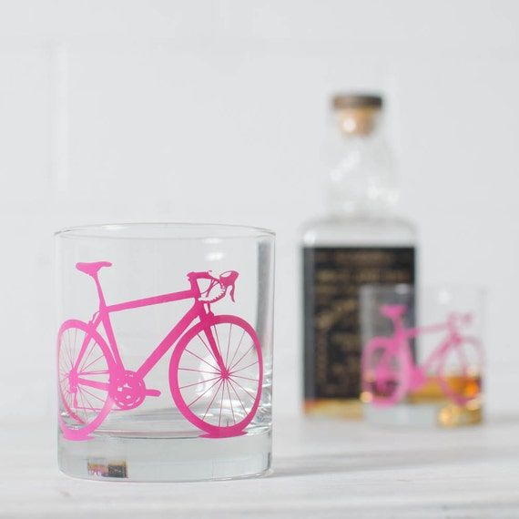 VITAL BICYCLE GLASSWARE screen printed bike glasses old fashioned rocks