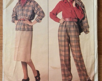 1980's Vogue Pattern for Family Circle Magazine - Misses' jacket, skirt, pants and blouse -  Vogue 0995