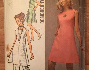 Vintage Simplicity 8775 Pattern - 1970s Mod Style Dress and Pants