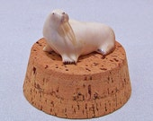 RESERVED Hand Carved Ivory Walrus by Robert Suqaq Wongittilin (1937-2006) Savoonga AK Beautiful details. Signed by the artist; Vintage