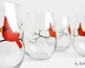 Christmas Cardinal Wine Glasses - Set of 2 Silkscreen Printed Red Bird Glasses - Red Bird Christmas Glasses