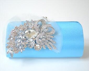 Rhinestone Bridal Clutch in Blue ~ Bridesmaid Clutch ~ Formal Clutch ~ Sale ~ Something Blue Wedding Bag ~ Made to Order