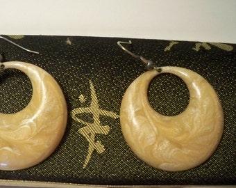 Vintage Hoop Earrings, Vintage Enamel Hoop Earrings, Yellow Hoop Earrings, Beige Swirl Hoop Earrings on Gold Metal Gifts for Mother's Day