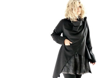 Black Wool Jacket with Cowl Collar and Zip Closure