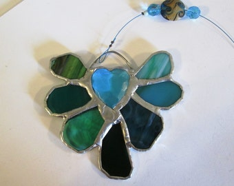 Stained Glass Flower Suncatcher with Heart Jewel in Gorgeous Aqua Green Turquoise - Valentino