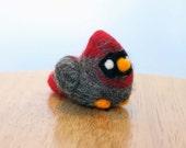 Needle Felted Female Cardinal Bird Soft Sculpture - Made to Order - Felt Cardinal Art Doll - Felted Cardinals - Female Cardinal