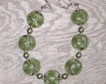 Handmade Lampwork Glass Bead Bracelet - Leafy Olive Greens