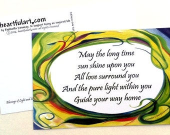 May the Long Time Sun TEN POSTCARDS Yoga Meditation Inspirational Quote Lyrics Spiritual Blessing Friends Heartful Art by Raphaella Vaisseau