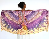 Wings scarf, bohemian bird feathers shawl, BLUSH, hand painted, digital print, sarong, perfect Valentine gifts.