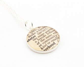 Sterling Silver Definition of SISTER Pendant and Necklace - Vintage Dictionary