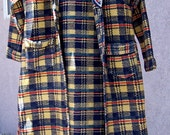 Vintage BEACON BLANKET ROBE Houndstooth Plaid Petite All Cotton