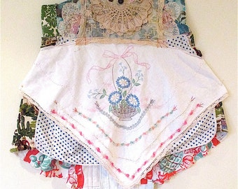 VINTAGE APRON Frock DRESS Fabric Collage Clothing Lot Antique Linens Lace Tablecloth Embroidery Applique Altered Wearable Art // mybonny