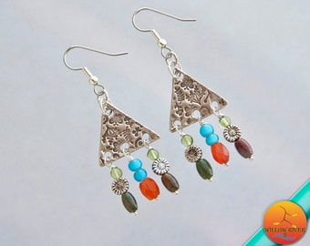 Triangle Dangle Fine Silver Earrings, Surgical Steel Ear Wires, Multiple Stone and Pewter Sunflower charms