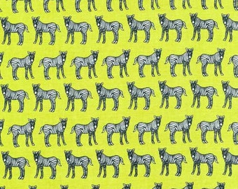 Zebras Lined Jungle Party Green Fabriquilt Fabric 1 yard