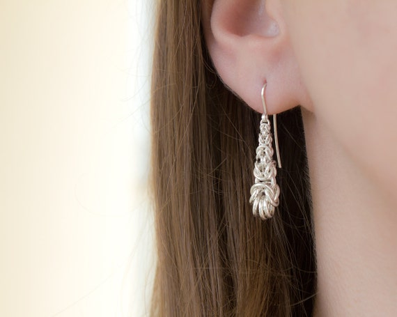 Short Silver Byzantine Drop Earrings Handwoven Argentium Sterling Chainmaille Dangle Exquisite Elegant Teardrop Polished French Ear Hooks