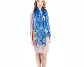 Felted scarf, scarf, felt, wrap, silk, wool, purple, Blue , women, gift, accesories, art, leaves