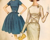 1960s McCall's 6473 Vintage Sewing Pattern Junior Dress with Full Skirt & Slim Skirt Size 9 Bust 30-1/2