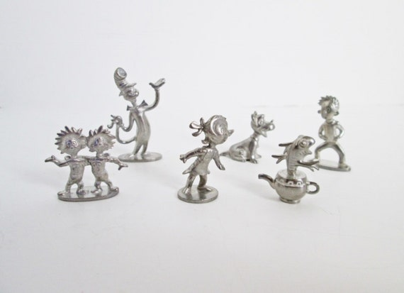 Cat in the hat monopoly tokens game pieces pewter metal for Cat in the hat jewelry