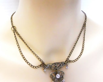 Empresses tea necklace Antiqued Brass filigree necklace with a steampunk neo victorian feel with crystals perfect for date night or bride