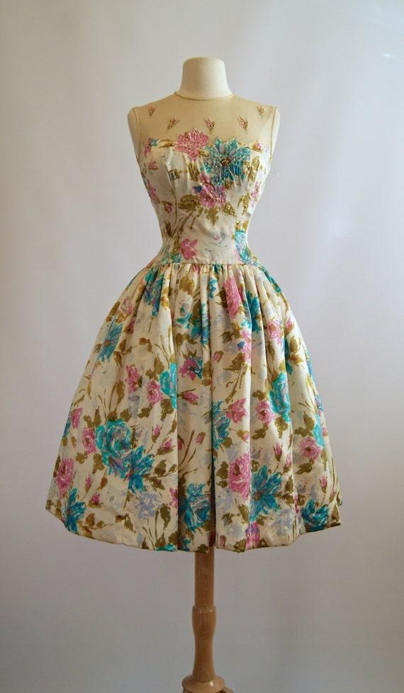 1950 S Silk Floral Dress Springtime In Paris By Xtabayvintage