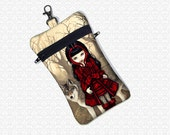 Red Riding Hood cell phone bag Jasmine Becket Griffith, small padded travel bag, wristlet gadget case essentials bag 2 pockets