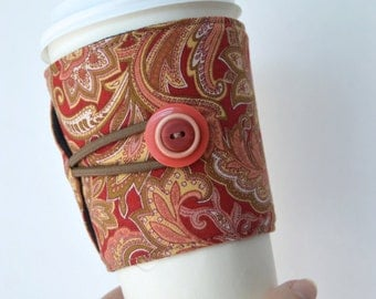 Rusted Paisley Cup Cozy for Tapered Disposable Cups - Adjustable/Handcrafted/Eco Friendly ~ READY TO SHIP