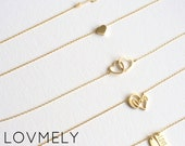 LOVE simple collection by LOVMELY - choose from 6 styles - valentine's day necklace - heart necklace - love necklace
