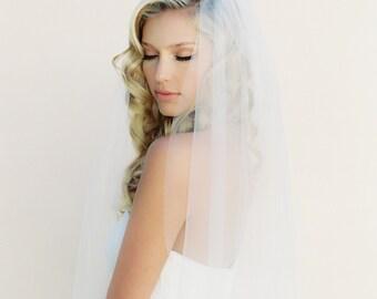 Simple Wedding Veil, Single Layer Bridal Veil, Double Layer Veil, Two Tier Veil, Tulle Veil, Cathedral Veil, Little Something #0802
