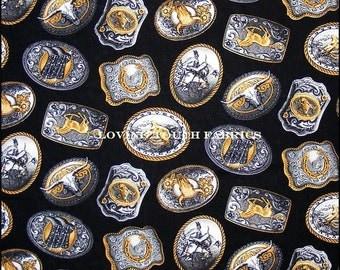 """Timeless Treasures Western Buckles Steers Horses Cowboy Belt Buckles  Cotton Fabric  1/2 Yd. (18"""" X 44"""") Black"""