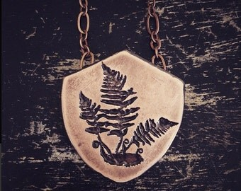 Fern Pendant - Etched Copper  - handmade from copper in my studio - Pick one - by Jamie Spinello - handmade in Austin, Tx
