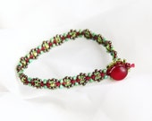 Green and Red Forget Me Knot Bracelet ~ Macrame Jewelry