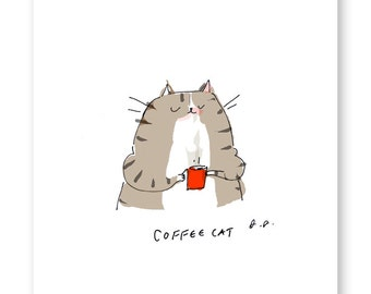 Coffee Cat Print - Coffee Art - Kitchen Art