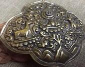 70's Brass Deer Belt - woven leather belt - southwestern belt - rare vintage - 70's designer belt - forest scene - unique boho belt - 1 size