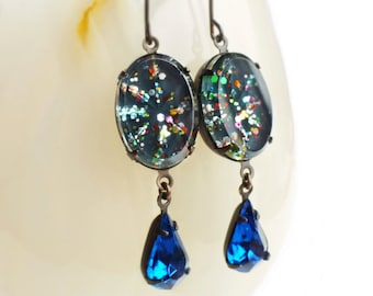 Cosmic Glitter Earrings Vintage Glass Rhinestones Teal Blue Rainbow Glitter Earrings Nail Polish Jewelry